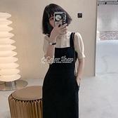 黑色背帶裙套裝女2021夏新款洋氣女神范上衣顯瘦吊帶洋裝兩件套 快速出貨