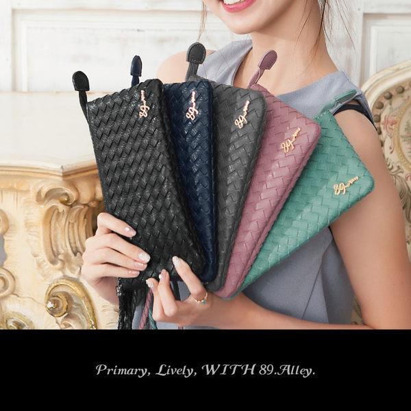 長夾 經典編織萬用收納手掛包 可放iphone7 plus 護照 女包 89.Alley-HP-0018