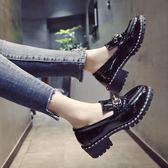 小皮鞋粗跟秋季韓版學院風樂福鞋【多多鞋包店】z5305