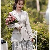 兩件套混搭外套西裝領+細肩帶碎花洋裝(外套+碎花洋裝)[99266-QF]小三衣藏