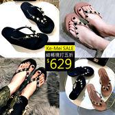 克妹Ke-Mei【ZT51735】泰國潮牌代購 奢華黑鑽心機厚底人字托鞋涼鞋