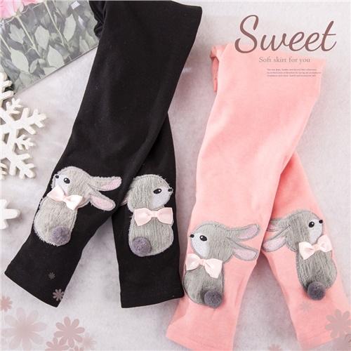 超可愛~絨毛小兔子棉質內搭長褲-2色(300310)【水娃娃時尚童裝】