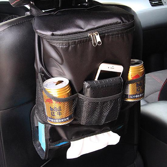 車用收納袋 飲料架  保溫袋 收納袋 保冰袋 椅背收納 汽車用品 汽車椅背 置物袋【Y047】米菈生活館