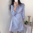 Qmigirl 實拍假兩件一片式繫帶條紋襯衫連身裙 長袖洋裝【WT714】