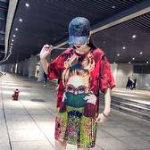 批發2千免運大碼女裝短袖速幹網眼布料舒適潮牌印花簡約中長款T恤039ZL818朵維思