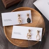 【NiNi Me】韓系耳環 925銀針氣質甜美幾何寶石水晶珍珠不對稱耳環 耳環 N0433