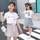 女童洋氣套裝2020年夏裝中大兒童短袖短裙寬鬆女孩夏季網紅兩件套