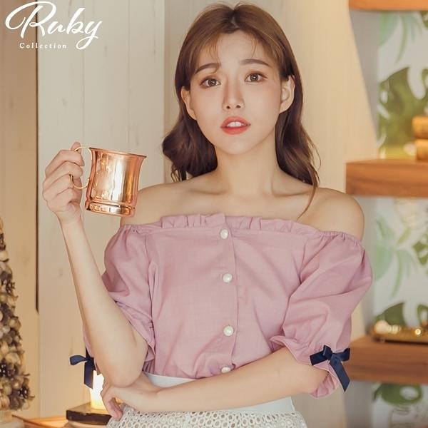 上衣 一字領撞色蝴蝶結短袖上衣-Ruby s 露比午茶