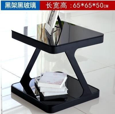 優選 簡約現代鋼化玻璃茶幾創意客廳小方茶幾角幾邊幾沙發小邊桌小邊櫃(65*65*50全黑)