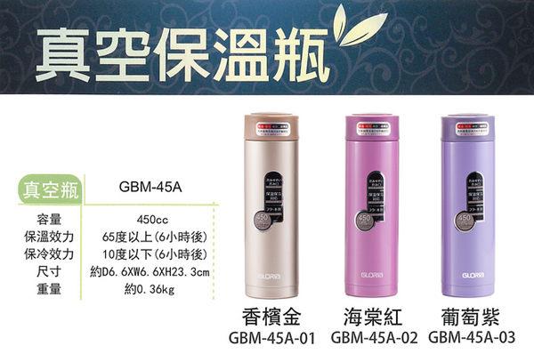 出清超值2入★GLORIA★日本SUS#316不鏽鋼真空保溫瓶450ml GBM-45A