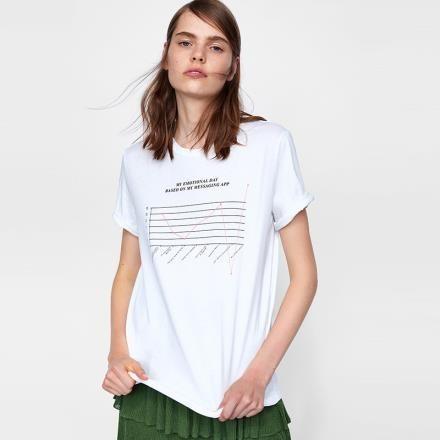 【南紡購物中心】《D Fina 時尚女裝》 簡約微寬鬆 休閒風印花短袖上衣T恤