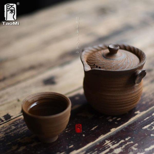[超豐國際]旅行手抓壺快客杯過濾粗陶瓷套裝泡茶器一壺一杯套裝1入