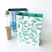 春季上新 簡約時尚韓版綠葉紙袋文藝小清新節日禮品袋創意禮物包裝手提袋