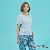 【Tiara Tiara】排釦短袖兩穿式針織罩衫上衣(藍/綠) 新品穿搭
