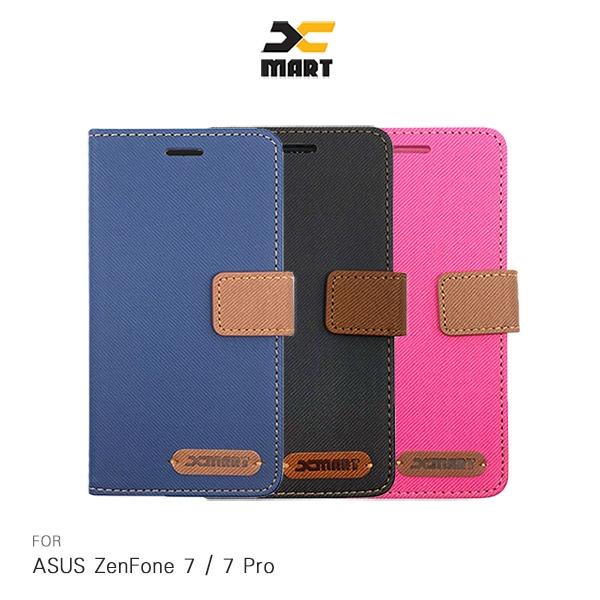 XMART ASUS ZenFone 7 / ZenFone 7 Pro 斜紋休閒皮套 磁扣 側翻 可插卡 保護套 手機套