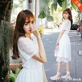 短袖洋裝 夏季新款韓國蕾絲連身裙女學生短袖收腰顯瘦小清新中長款裙子 秋季新品