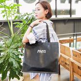 購物袋簡約黑色防水折疊便攜學生拎書包短途旅行手提環保購物袋女包