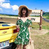 泰國旅游必備仙鶴連身裙矮個子壓褶木耳邊吊帶短裙海邊 伊蒂斯女裝