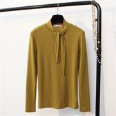 +C3366# 百搭純色簡約蝴蝶結綁帶長袖T恤女打底衫 &小咪的店&