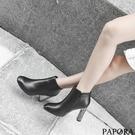 PAPORA時尚亮皮亮高跟短靴KY5535黑