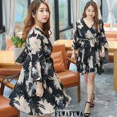 (現貨+預購 FUWAFUWA)--加大尺碼雪紡印花長袖洋裝