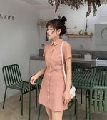 VK精品服飾 韓系素色細條紋復古收腰襯衫短版短袖洋裝
