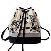 後背包-帆布時尚可愛貓咪水桶女雙肩包73sr5【時尚巴黎】