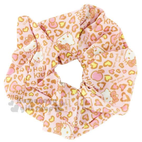 〔小禮堂〕Hello Kitty 髮圈《粉.愛心豹紋.蘋果》大腸圈.髮飾 4712977-46326