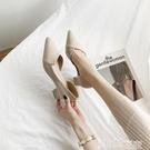 中跟鞋 女鞋春季2021新款春秋中跟粗跟尖頭溫柔網紅淑女風高跟夏春款單鞋 智慧e家 新品