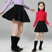 女童短裙秋裝2019新品中大童百褶裙子半截裙兒童夏季裝半身裙黑色裙