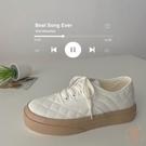 奶油帆布鞋女夏小眾鞋子厚底小白鞋板鞋【橘社小鎮】