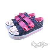Skechers S Lights Shuffles 牛仔 粉紅金蔥 發亮鞋 休閒鞋  童鞋 10788NDNPK ☆SP☆
