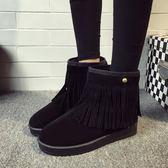 短靴新品冬季流蘇短靴磨砂平底雪地靴短筒女鞋加厚棉靴保暖棉鞋靴子潮