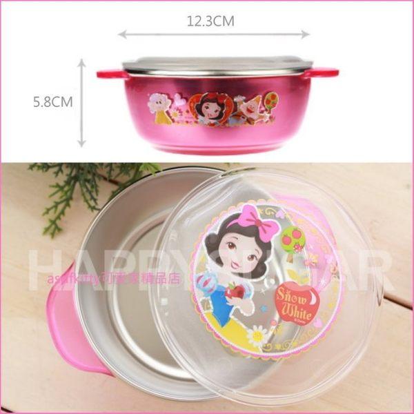 asdfkitty可愛家☆白雪公主有蓋雙耳防燙304不鏽鋼碗-L號-學習碗-底部有防滑膠條-韓國製