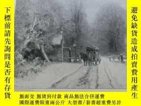 二手書博民逛書店【罕見】1890年木刻版畫《冬日雪天的黃昏》Abenddämme