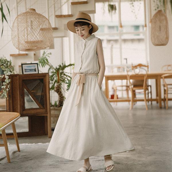 Queen Shop【01084973】中山領無袖直條紋腰綁帶洋裝 兩色售*現+預*