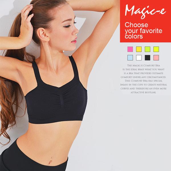 魔法e裳《不修邊寬肩帶內衣》3D超彈力*無鋼圈內衣*瑜珈運動內衣-W026-2