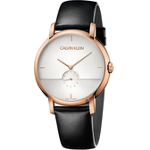 Calvin Klein CK Established 小秒針手錶-玫瑰金框x黑/43mm K9H2X6C6