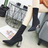 短靴 尖頭針織高跟短靴針織靴顯瘦連體襪彈力靴中筒靴