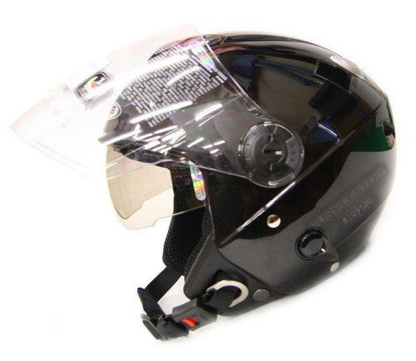 ZEUS 瑞獅安全帽,半罩安全帽,3/4帽,飛行帽,202FB,隱藏式墨片,素色,黑
