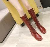 長靴 馬丁靴女2019秋冬新款高筒騎士靴過膝長靴女粗跟長筒網紅瘦瘦靴子  玫瑰