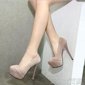夜場女鞋子新款2020夏季細跟防水台高跟黑色車展性感夜店恨天高鞋 簡而美