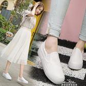 百搭小白帆布鞋一腳蹬女鞋韓版學生白鞋懶人布鞋 『夢娜麗莎精品館』