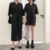 復古港風黑色休閒連身褲女夏季寬鬆顯瘦V領短袖連衣褲長短款