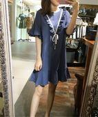 現貨不退換藍色2XL洋裝中大尺碼17650/夏季復古中長款學院風純棉連身皇潮天下
