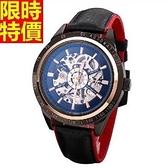 機械錶-陀飛輪自動鏤空時尚撞色真皮男腕錶5色66ab12【時尚巴黎】