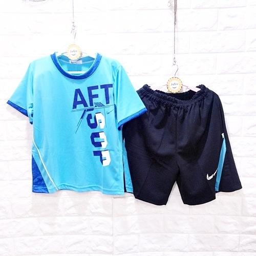 ☆棒棒糖童裝☆(E1510藍)夏男大童印花AFT排汗套裝 120-170 台灣製造