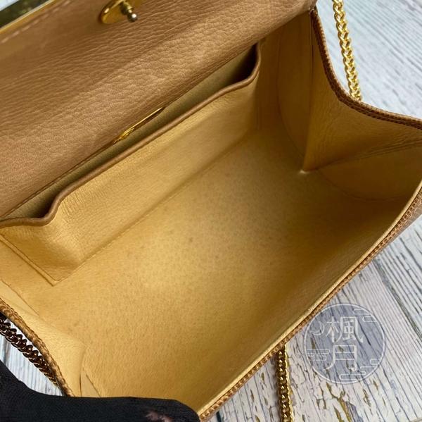 BRAND楓月 GUCCI 古馳 淺棕色 皮革 蜥蜴皮 金鍊 晚宴包 側背包 小包 特殊稀有皮革 VINTAGE