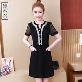 洋裝-新款大碼女裝胖mm連身裙減齡夏季寬松遮肚短袖雪紡裙子200斤 Korea時尚記