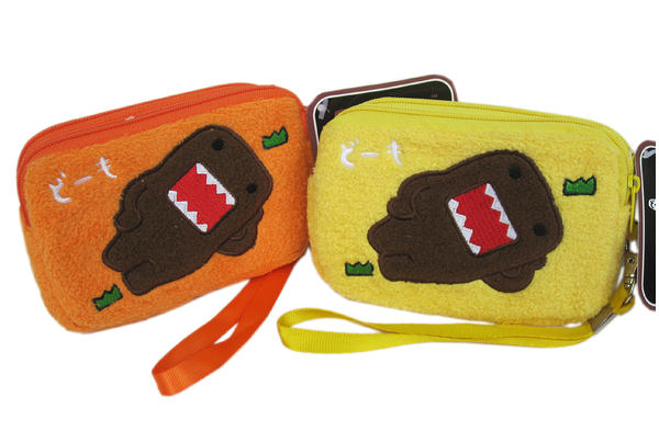 【卡漫城】DOMO 絨毛 零錢包 橘色 ㊣版 多摩君 雙層 拉鍊式錢包 單面圖 手機袋 附吊繩 可當手拿包